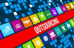Outsourcing concept image with business icons and copyspace.